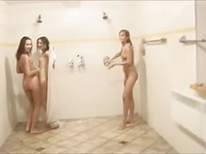 Three naked teens in public shower