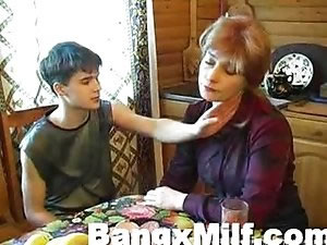 Teenage boy licking ass to Russian mom